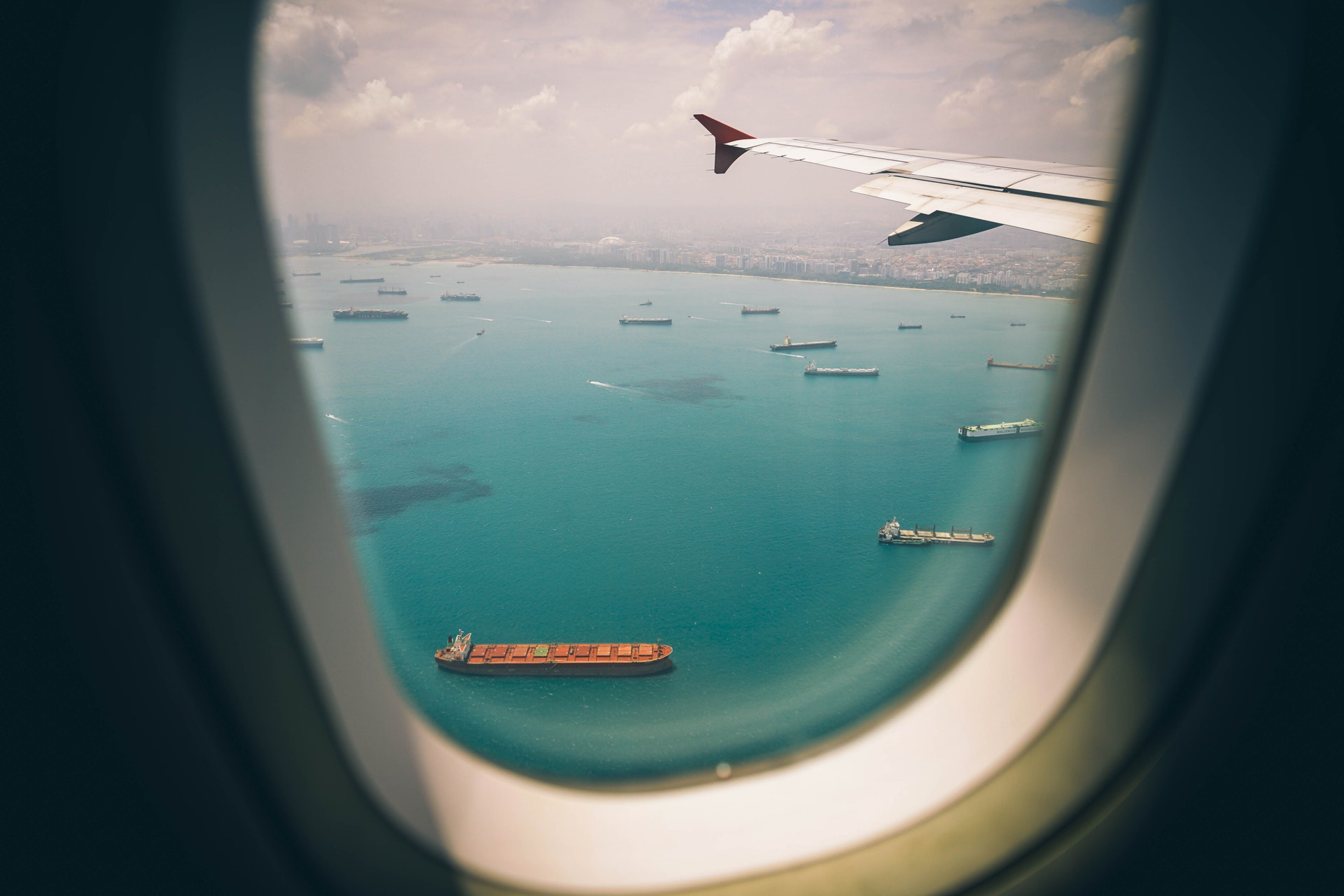 Plane and ships